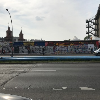 What remains of the Berlin Wall, as seen at the Eastside Gallery.